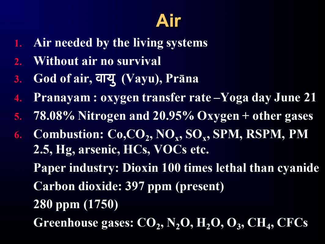 AirAir 1. Air needed by the living systems 2. Without air no survival 3. God