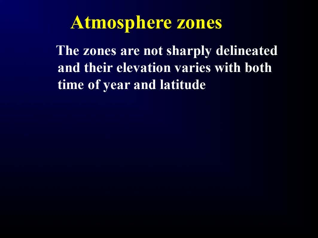 Atmosphere zones The zones are not sharply delineated and their elevation varies with both time