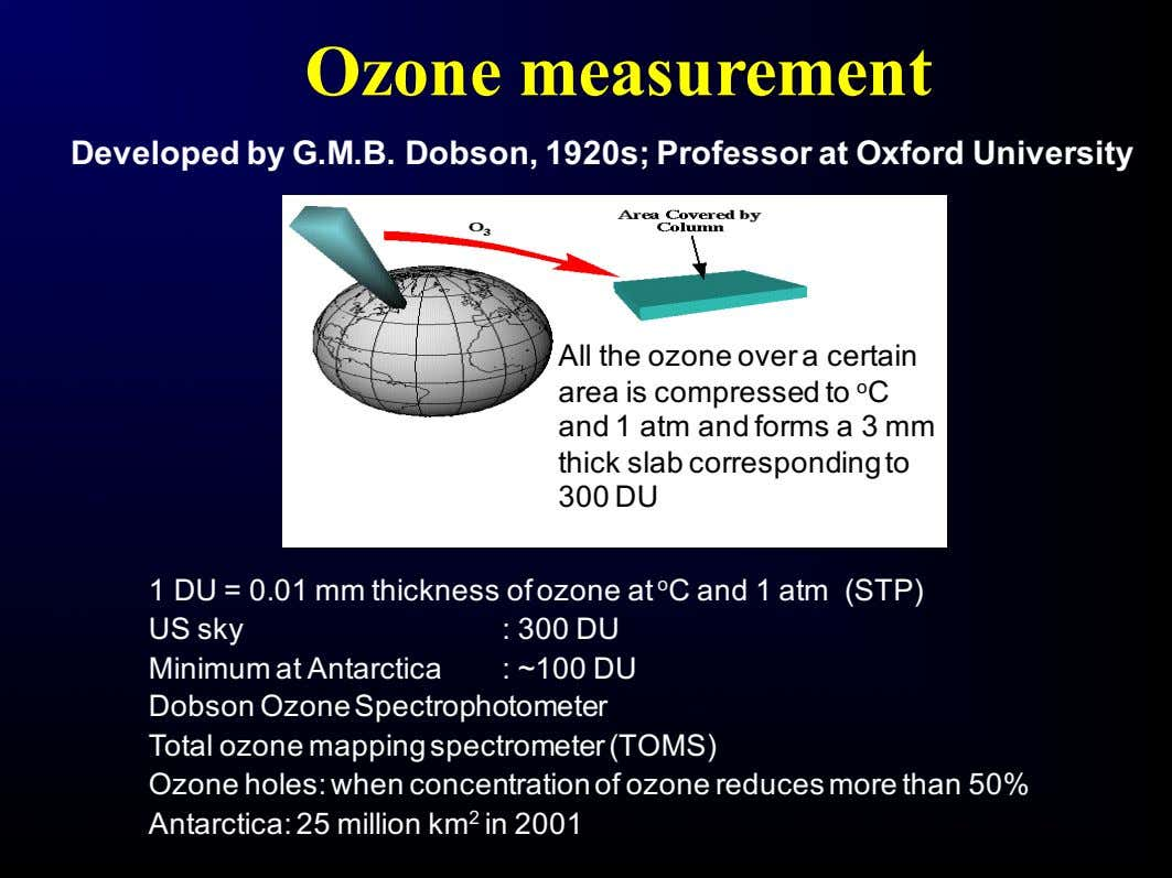 Ozone measurement Developed by G.M.B. Dobson, 1920s; Professor at Oxford University All the ozone over