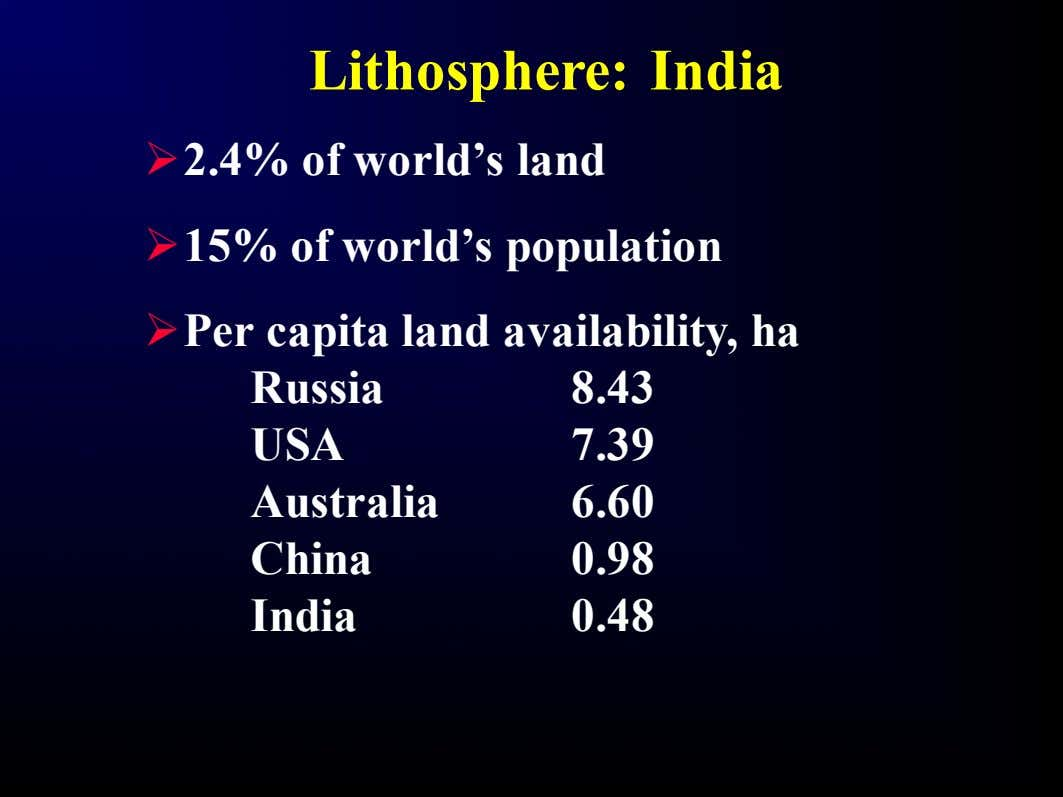 Lithosphere: India Ø 2.4% of world's land Ø 15% of world's population Ø Per capita