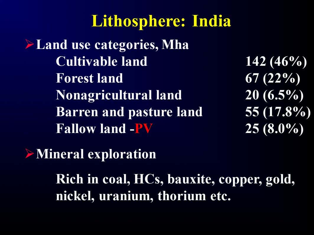 Lithosphere: India Ø Land use categories, Mha Cultivable land Forest land Nonagricultural land Barren and