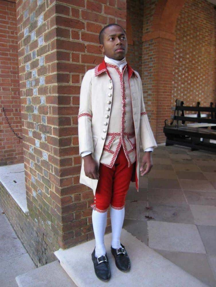 Emmanuel Dabney in Washington's servants' livery. (Courtesy of Neal Hurst and Colonial Williamsburg)