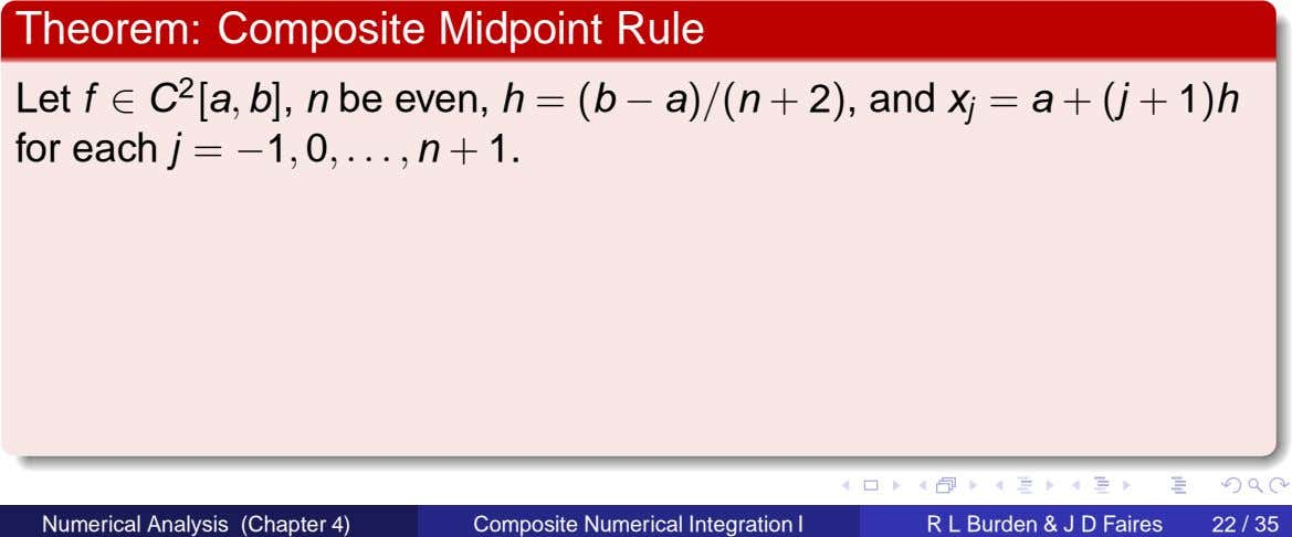 Theorem: Composite Midpoint Rule Let f ∈ C 2 [a , b], n be even,