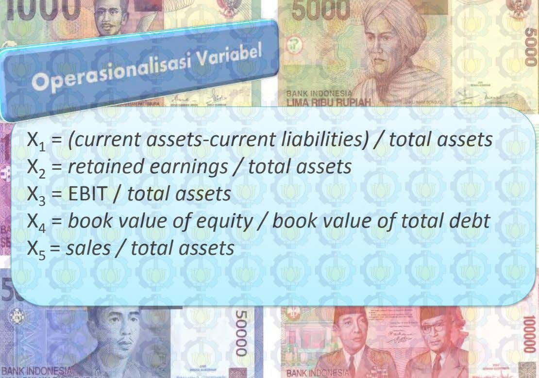 X 1 = (current assets-current liabilities) / total assets X 2 = retained earnings /