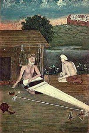 An 1825 CE painting depicts Kabir with a disciple c. 1440 Lahartara near Kashi (present-day