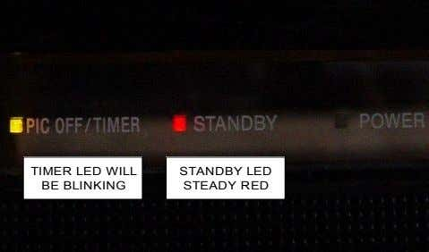 TIMER LED WILL BE BLINKING STANDBY LED STEADY RED