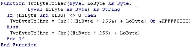 The read bytes represent a Char in the CPU. Figure 5 - 4 Bytes VBA Word