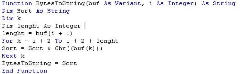 The read bytes represent a string in the CPU. Figure 5 - 7 Bytes VBA single