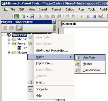 9. Select the VBA project. Via the right mouse button you enter a UserForm with Insert