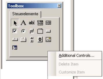 10. Click Toolbox with the right mouse button and select Additional Controls… A new dialog box