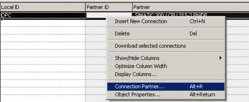 3. Select the OPC connection . Right-click the connection and select Connection Partner… .