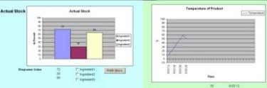 worksheet. Here you see the current stock displayed as column diagram and the temperature curve of