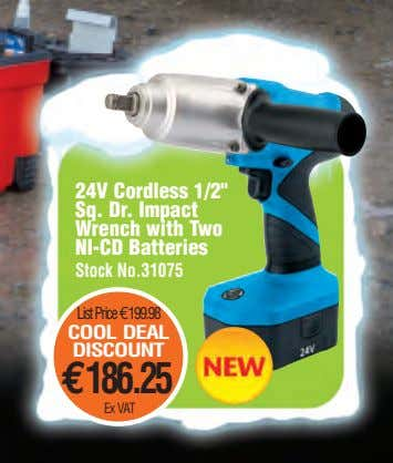 "24V Cordless 1/2"" Sq. Dr. Impact Wrench with Two NI-CD Batteries Stock No.31075 ListPrice€199.98 COOL"