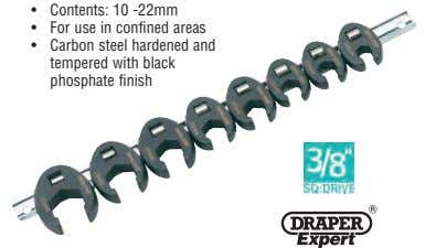 • Contents: 10 -22mm • For use in confined areas • Carbon steel hardened and