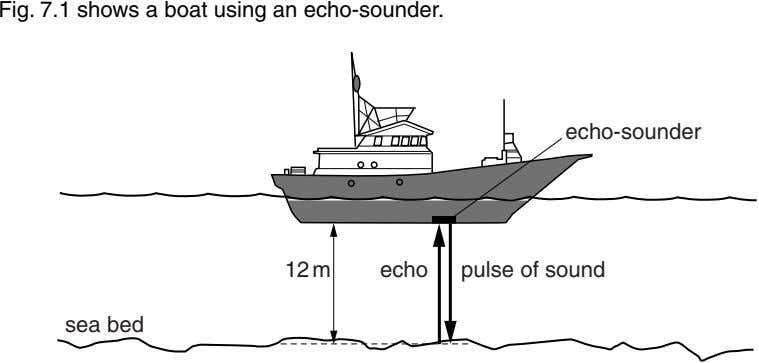 Fig. 7.1 shows a boat using an echo-sounder. echo-sounder 12 m echo pulse of sound