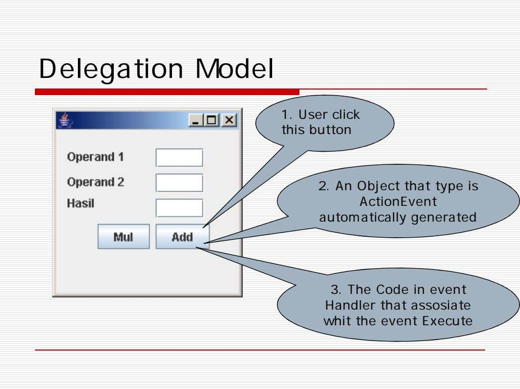 Delegation Model 1. User click this button 2. An Object that type is ActionEvent automatically