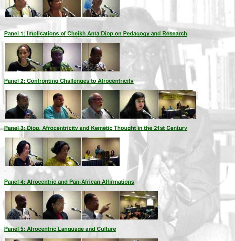 Panel 1: Implications of Cheikh Anta Diop on Pedagogy and Research Panel 2: Confronting Challenges