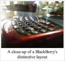A close-up of a BlackBerry's distinctive layout