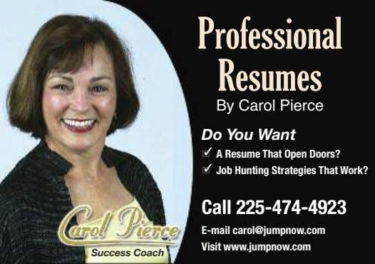 Professional Resumes By Carol Pierce Do You Want - A Resume That Open Doors? -