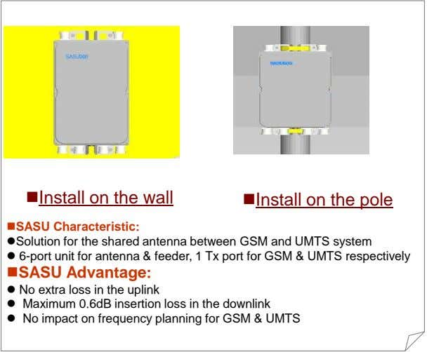 Install on the wall Install on the pole SASU Characteristic: Solution for the shared antenna