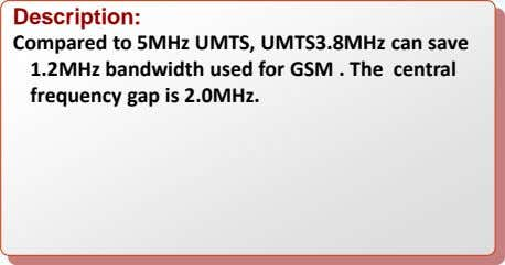 Description: Compared to 5MHz UMTS, UMTS3.8MHz can save 1.2MHz bandwidth used for GSM . The