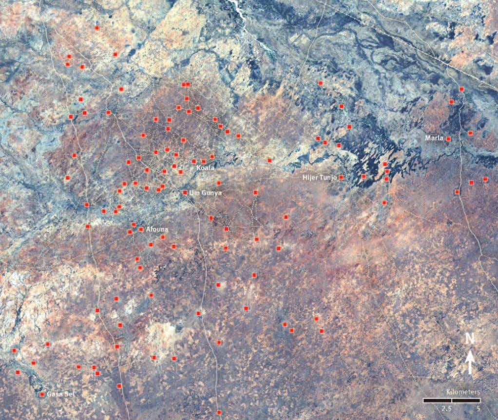 SATELLITE IMAGERY ANALYSIS PROBABLE ARSON DAMAGE SOUTH OF NYALA, SOUTH DARFUR Human Rights Watch identified over