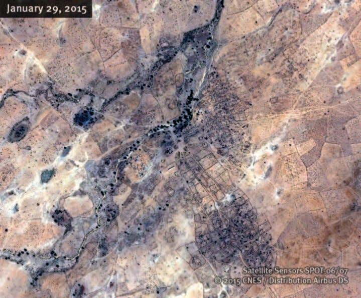 Um Gunya Satellite image of the village of Um Gunya recorded before the government offensive in