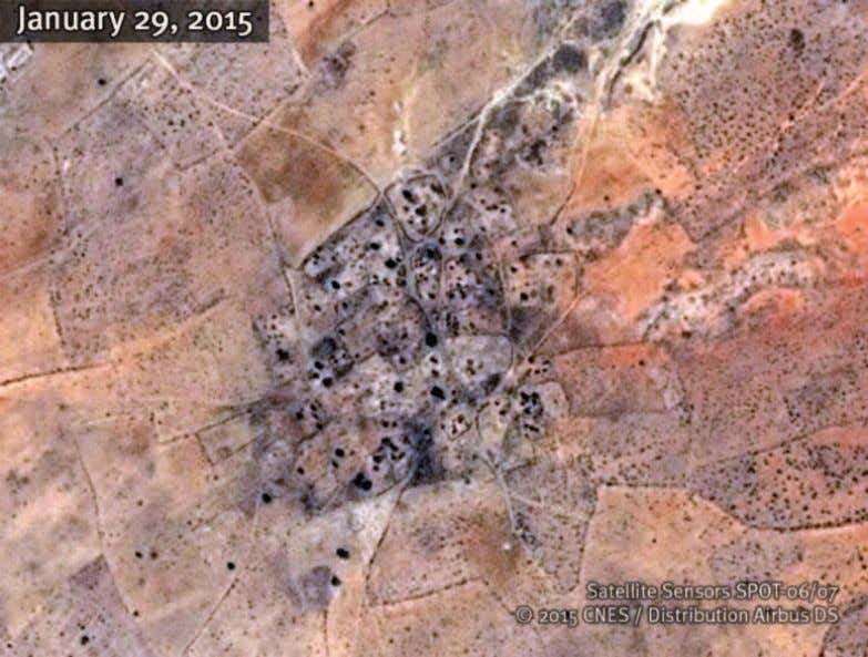 Afouna Satellite image of the village of Afouna recorded before the government offensive in late February
