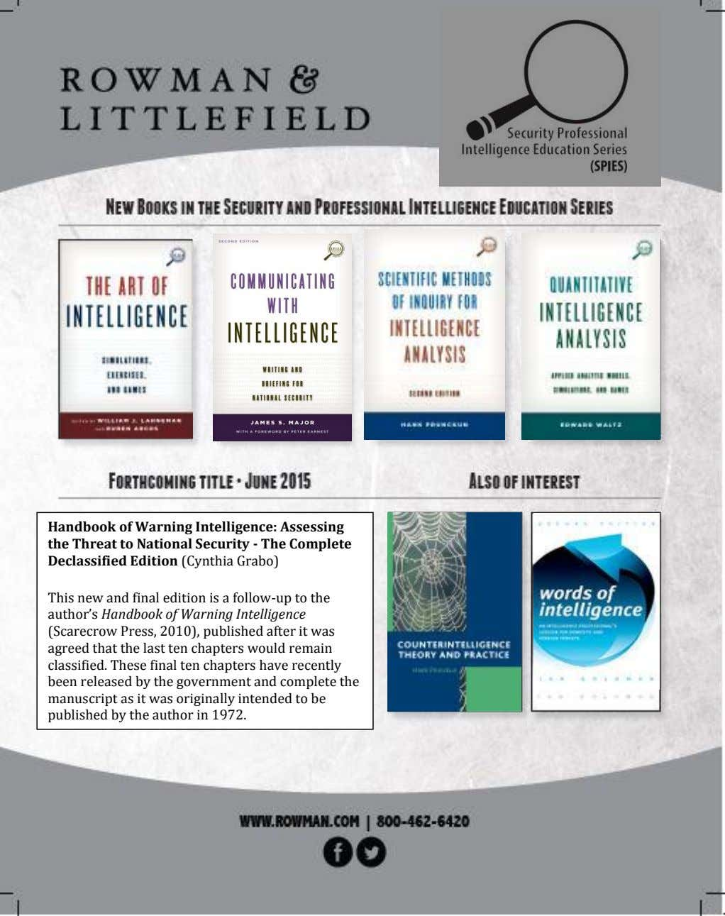 Handbook of Warning Intelligence: Assessing the Threat to National Security - The Complete Declassified Edition