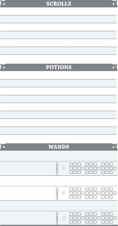SCROLLS POTIONS WANDS # # # CHARGES CHARGES CHARGES