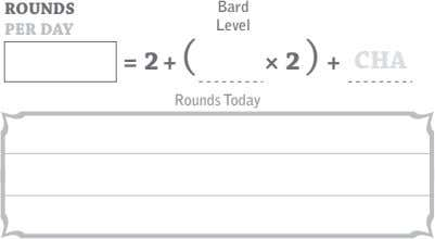 ROUNDS Bard PER DAY Level = 2 + ( × 2 ) + CHA Rounds