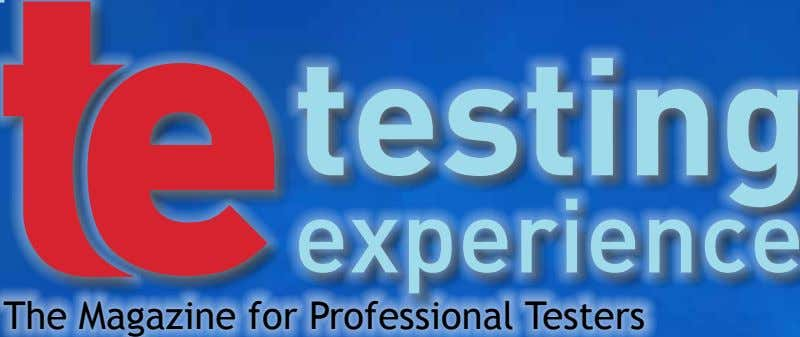The Magazine for Professional Testers