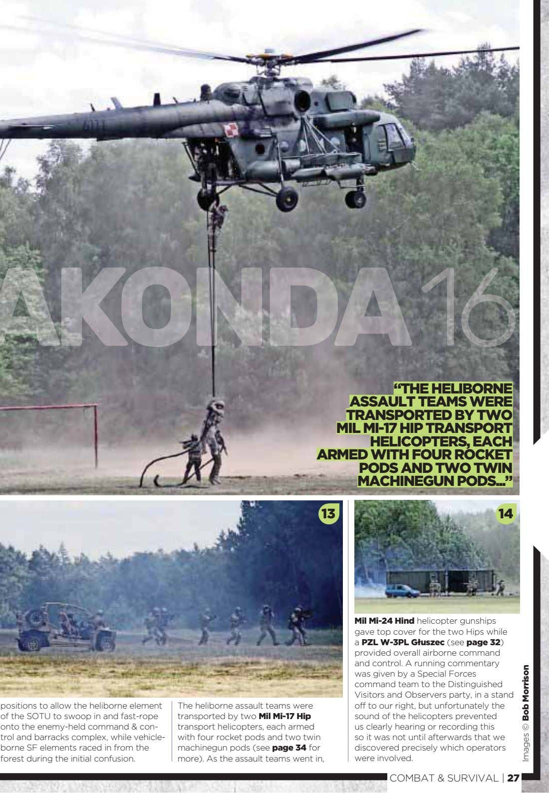 """THE HELIBORNE ASSAULT TEAMS WERE TRANSPORTED BY TWO MIL MI-17 HIP TRANSPORT HELICOPTERS, EACH ARMED"