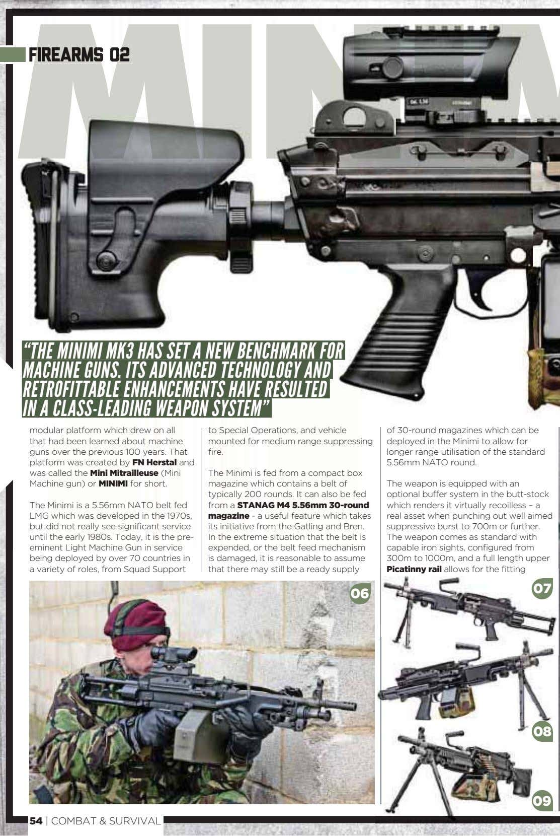"firearms 02 ""THE MINIMI MK3 HAS SET A NEW BENCHMARK FOR MACHINE GUNS. ITS ADVANCED"