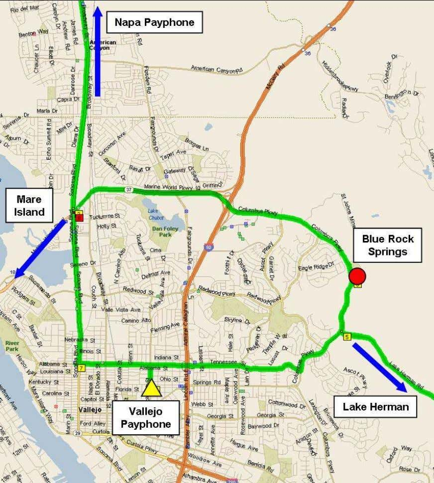 Figure 3. Vallejo Commuting Routes. A retired Napa County Sheriff's Department deputy thought the Zodiac did