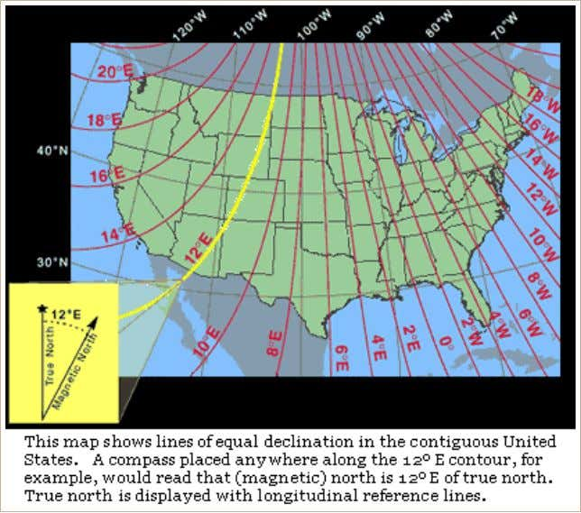 Figure 5. Magnetic Declination in the Continental United States. Source: nationalatlas.gov ( http://nationalatlas.gov/articles/geology/a_geomag.html ). Figure 6.