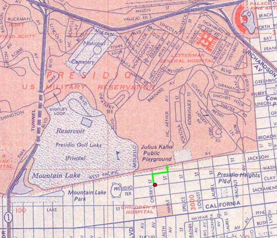 Figure 1. Presidio, San Francisco, California, 1969. Source: San Francisco street map, Gulf Oil. There are