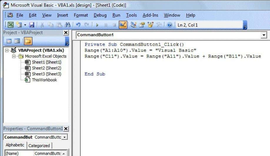 the design button, then click on the command button. Figure 1.3: The Visual Basic Editor IDE