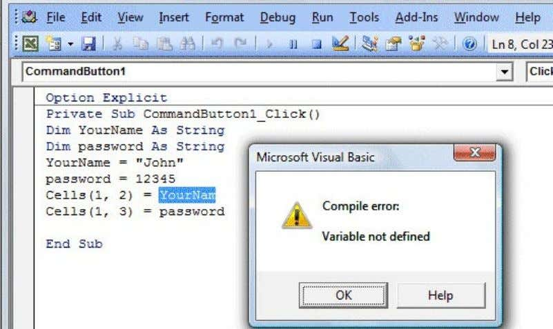 Figure 2.2: Error message due to typo error 2.3 Assigning Values to the Variables After