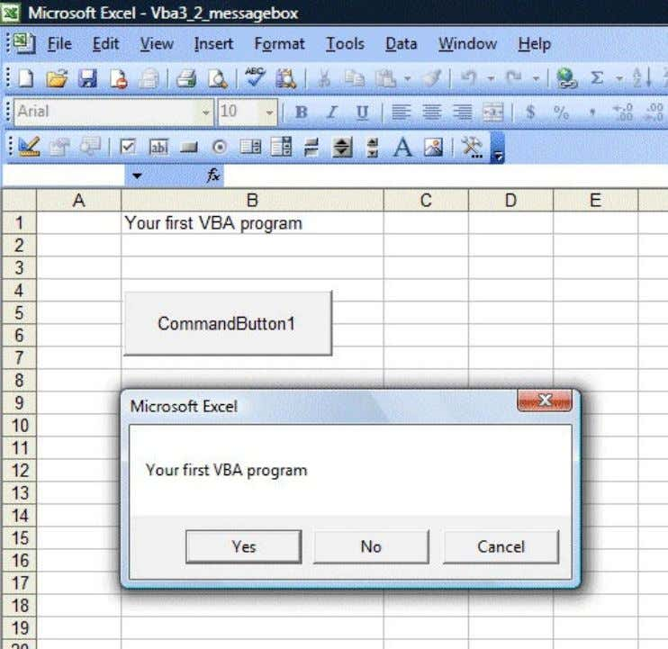 Figure 3.2: Message box with the Yes, No and Cancel buttons To make the message
