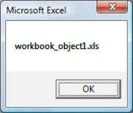 i.e. workbook_object1.xls as shown in Figure 9.1 below: Figure 9.1: The name of the Excel workbook