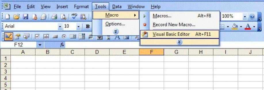 menu bar, select Macro and the click on Visual Basic Editor. Figure 13.1: Inserting Visual Basic