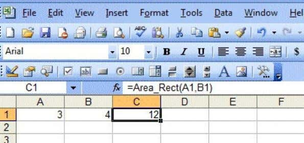 area is automatically calculated and displayed in cell C1. Figure 13.4 The formula can be copied