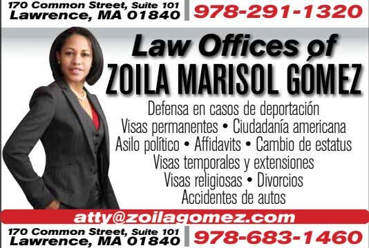 170 Common Street, Suite 101 978-291-1320 Lawrence, MA 01840 Law Offices of ZOILA MARISOL GÓMEZ