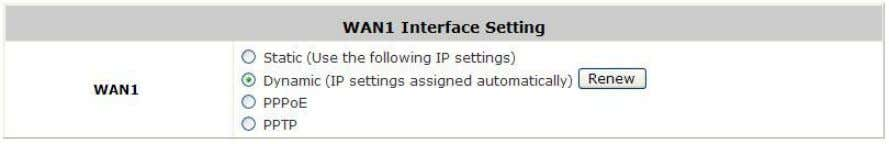 the DHCP server is available on the upstream network. Click the Renew button to get an