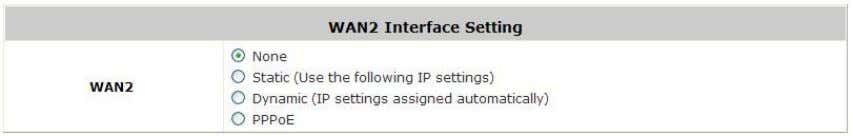 let us enable and configure WAN2 port (optional): Go to: System >> WAN2 . None :