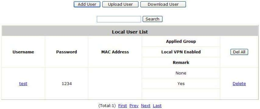 the individual local account. Local user account can be assigned a Group and applied Local VPN