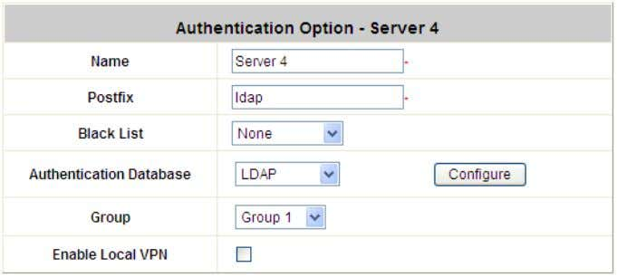 enabled or disabled for the entire Authentication Database . Click the button Configure for further configuration.