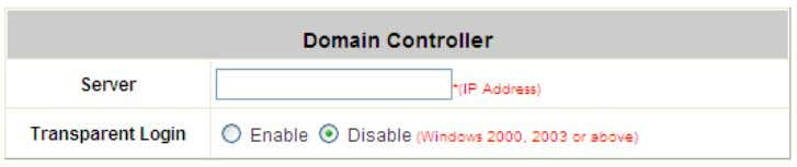 effective immediately after clicking the Apply button. Transparent Login: This function refers to Windows NT