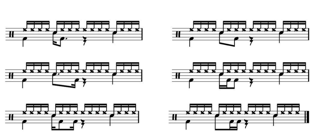 a snare walloping away on The six variations look like this: ©Sam Brown Music 2012 www.drumsecrets.com